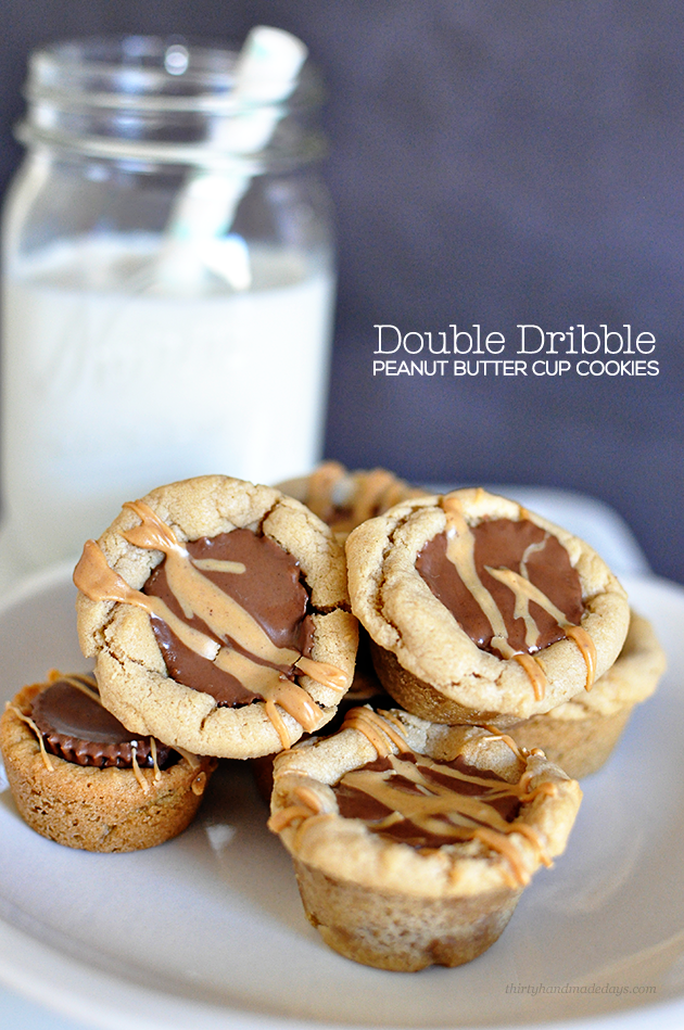 Amazing Double Dribble Peanut Butter Cup Cookies- simple to make but taste unbelieveable www.thirtyhandmadedays.com