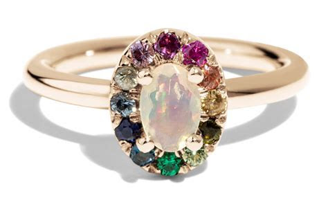 Dez Opal with Rainbow Halo Ring   Bario Neal