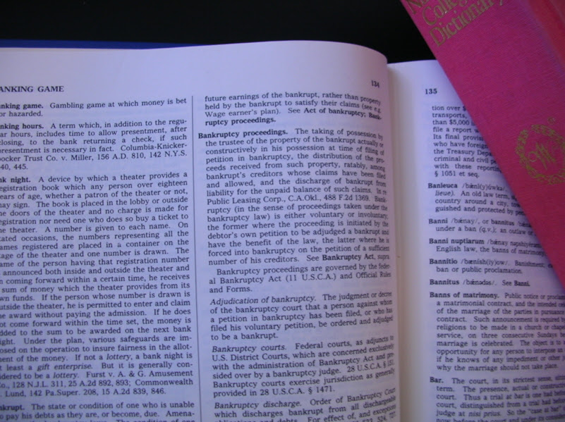 Bankrupcty Dictionary - common bankruptcy in plain talk - | Law ...
