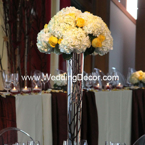 Wedding Centerpieces birch branches hydrangea yellow roses A tall