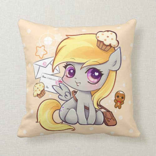 Cute kawaii postman pony with letters and cupcakes pillow