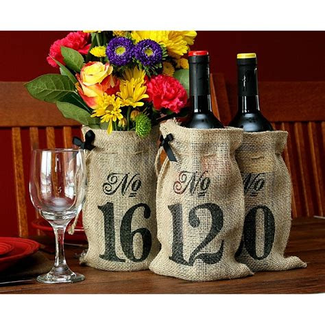 table numbers   burlap hessian wedding wine bottle