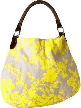 Women: Women's Floral Canvas Hobos - Yellow Floral