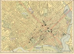 Map of Washington, DC , 1908, showing streetcar lines, railroads, and steamship docks (Hammond Company)