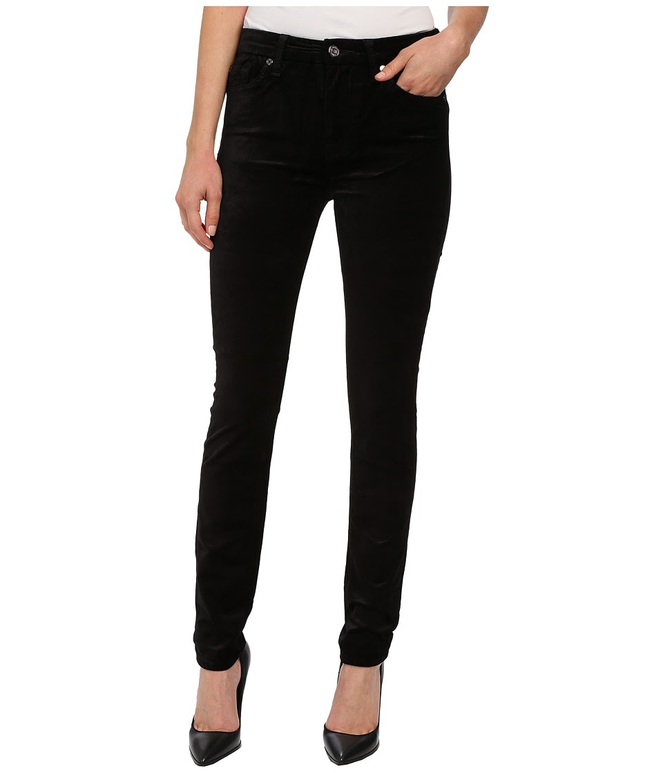 7 For All Mankind - The High Waist Skinny in Black Velvet (Black Velvet) Women's Jeans