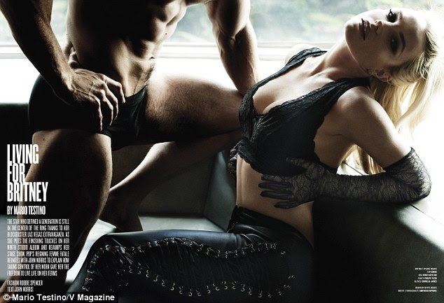 Hot stuff: Britney Spears sizzles while posing in a lacy black Guess bralette in the 100th issue of V Magazine, where she talks about life in the spotlight and her upcoming album