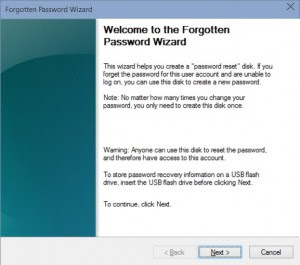 Windows 10 Forgotten Password Wizard