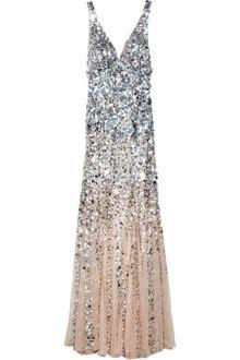 Rachel Gilbert Giselle Dégradé Sequined Gown in Silver (blush) - Lyst