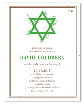 Natural Star Bar Mitzvah invitations