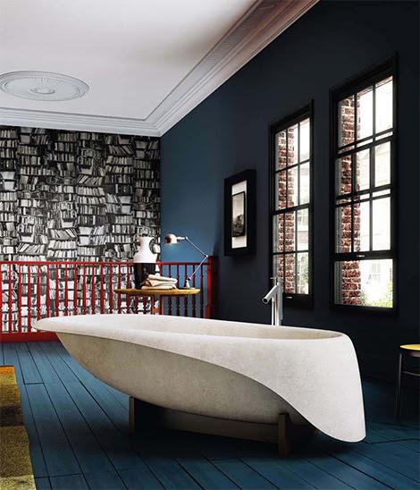 Modern Concrete Bathtub by Glass Idromassaggio