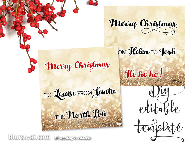 Printable Christmas gift tags template for Word, fully editable ...