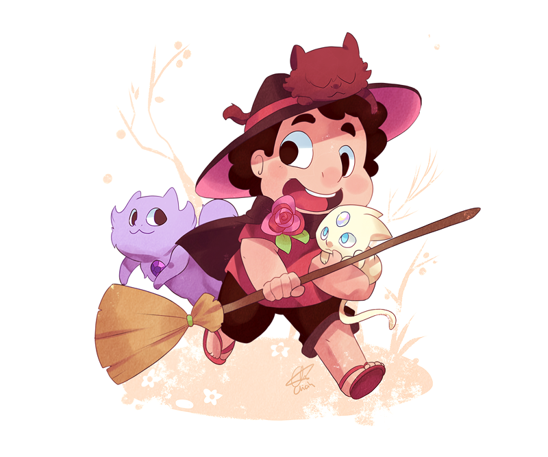 I had planned on doing something with my mass of witch characters for a Halloween type thing, but nope~ Witch Steven and crystal kitties~