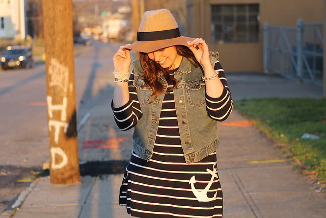 "Spring Sunset outfit: striped mariner anchor dress from J.Crew, altered vintage denim vest, brown boots, skinny jeans, wide-brimmed wool hat - Anthropologie ""sweaterknit rancher"""