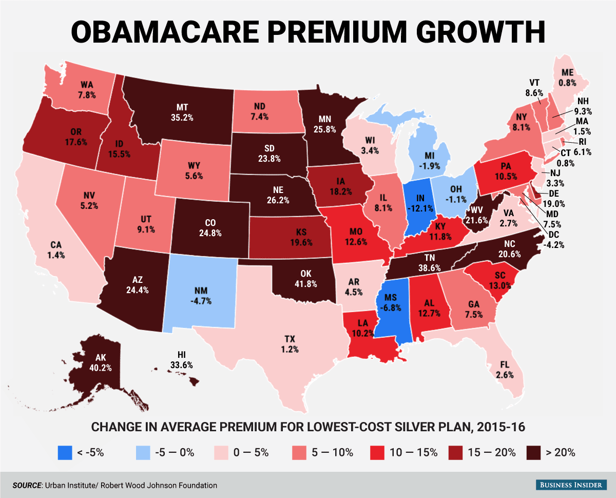 Here's how much the price of Obamacare changed this year ...