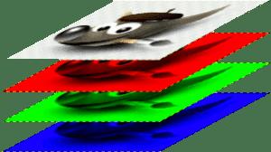 Esempio di un'immagine in modalità RGB e in scala di grigi
