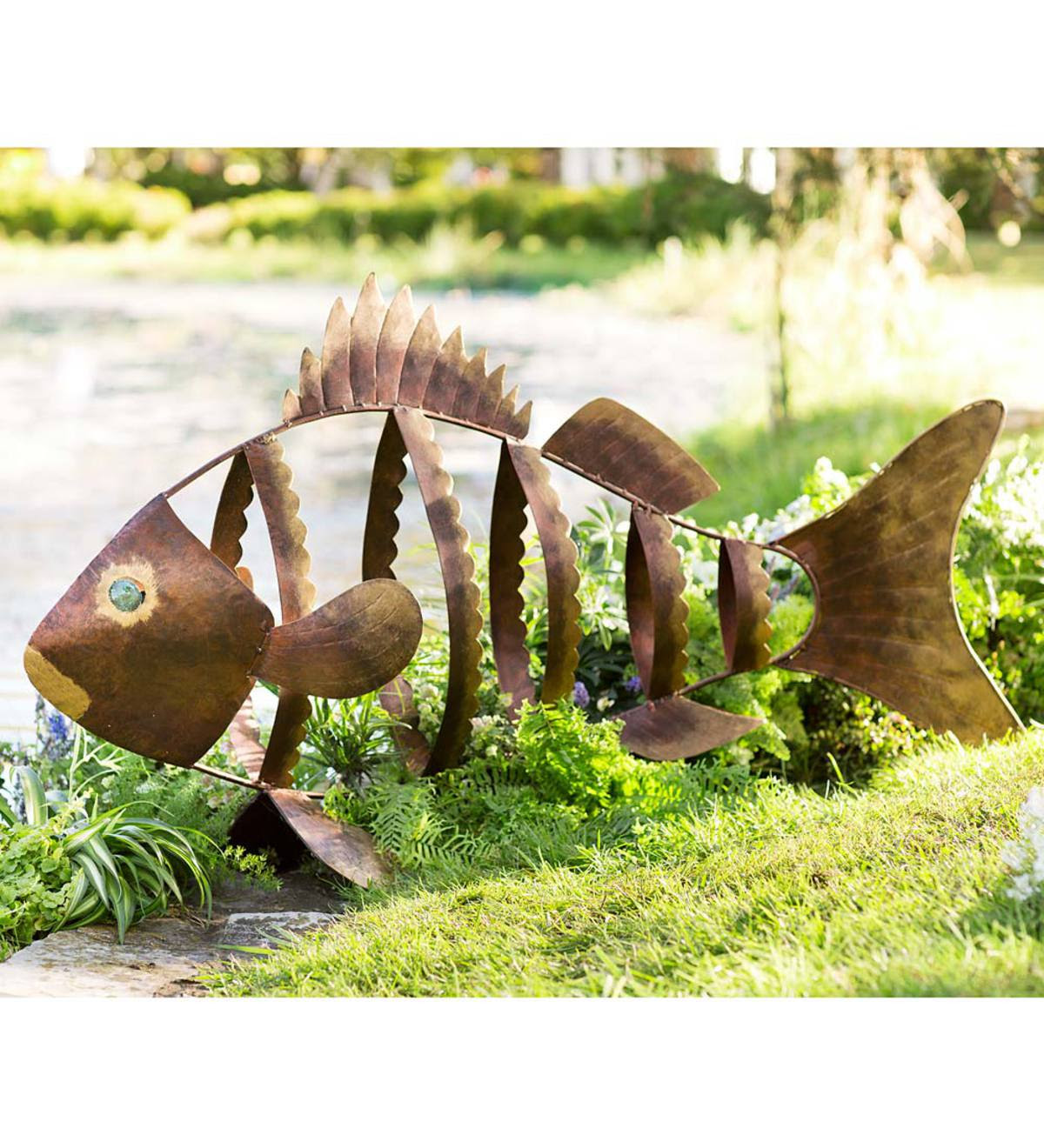 Large Metal Fish Garden Sculpture | Wind and Weather