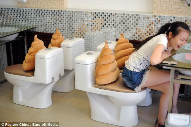 Fine faeces: This diner appears impressed by the morsels on offer