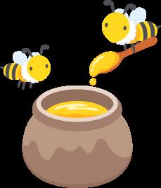 ミツバチと蜂蜜の壺の無料ベクターイラスト素材 Picaboo ピカブー