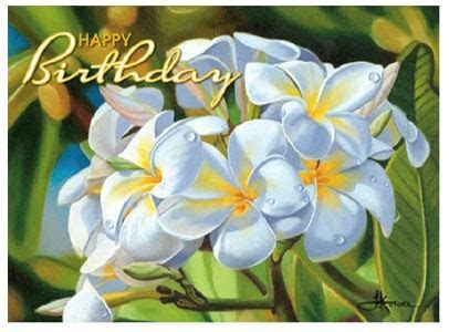 MORNING RAIN PLUMERIA BIRTHDAY CARD