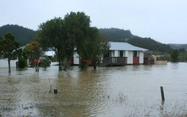 Flooding on Otiria Road, Moerewa on Friday.