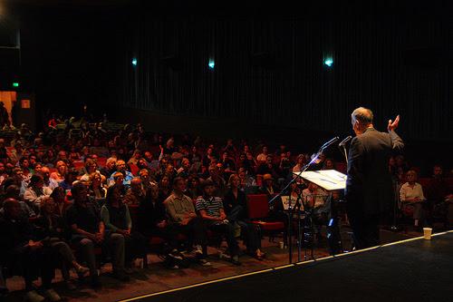 Nader speaks at the Roxie in Santa Cruz, CA