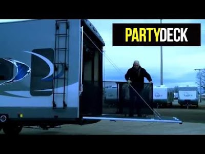 RV videos from Lippert Components: Ramp Door Party Deck, Automatic Leveling, Trailair Pin Boxes, RV Waste Management, Solera Power Awning and Friction Hinge Doors