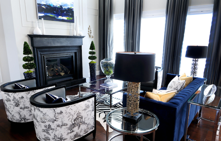Black and White Toile Fabric - Contemporary - living room ...