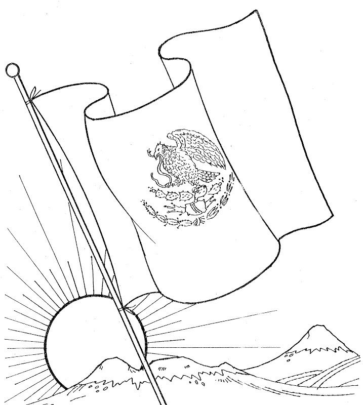 Dibujos De La Bandera De México Para Descargar Imprimir Y Pintar