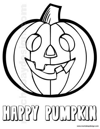 smiling pumpkin printable halloween kids coloring page