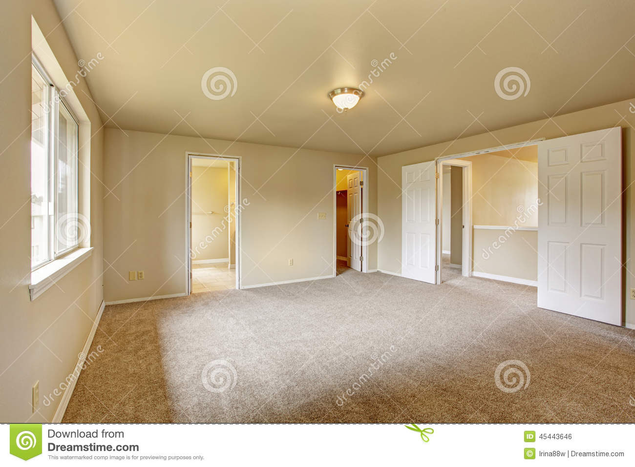 Emtpy Master Bedroom With Bathroom And Walk In Closet ...