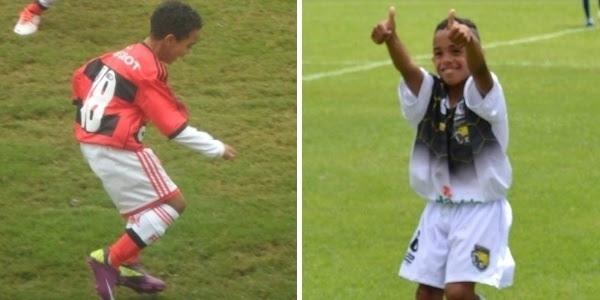Cassiano Bonzon, de 12 anos, posa para foto antes de jogo pelo Flamengo no estádio da Gávea