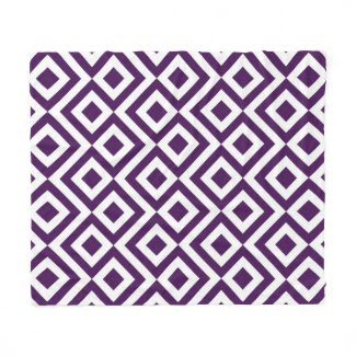 Purple and White Meander Fleece Blanket