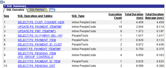 Figure 6: SQL Summary of PPM trace after removing PeopleTools SQL transactions