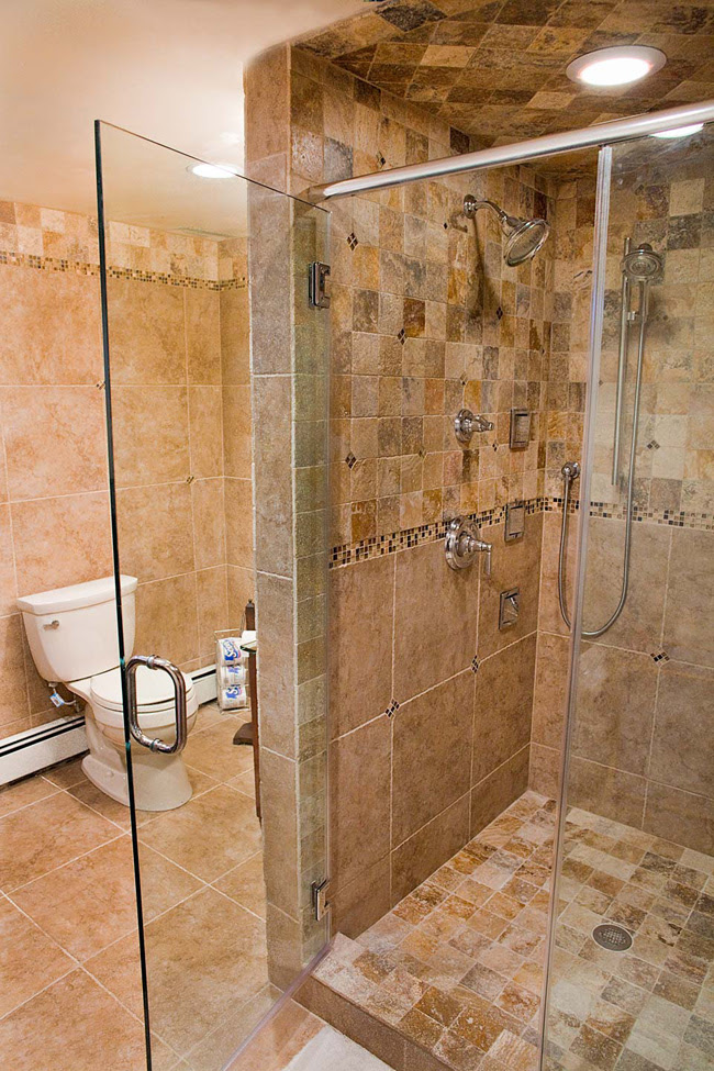 Tumbled Stone  Tile  with Glass Accents Fuda Tile