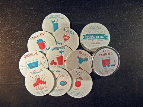 Drinks on us! Letterpress Coaster Set   Dolce Press
