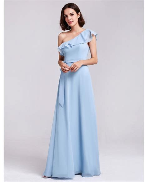 Navy Blue Chiffon Long One Shoulder Ruffles Oblique
