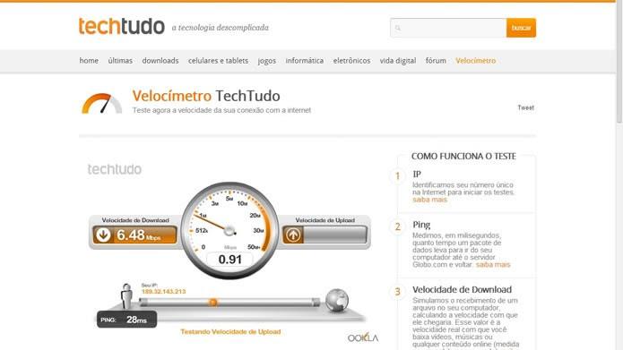 Meça a velocidade real de sua internet e verifique se corresponde ao plano de sua operadora (Foto: Reprodução/Daniel Ribeiro)