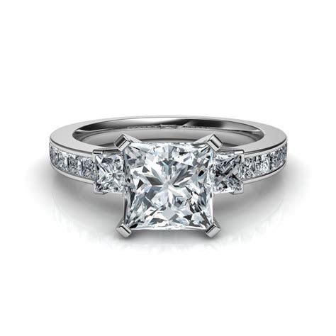 Three Stone Princess Cut Diamond Engagement Ring Natalie