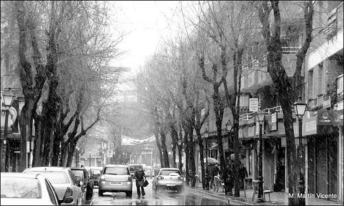 Aguanieve sobre la Calle Grande de Valdemoro