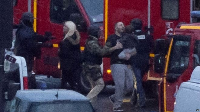 Hostages evacuated following the siege at the Hyper Cacher supermarket