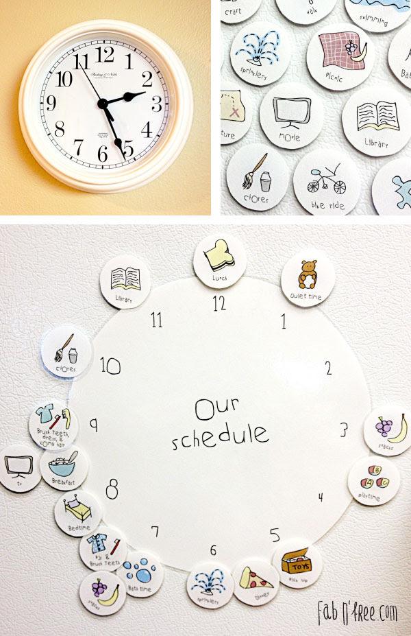 Free Printable Kids Clock Schedule