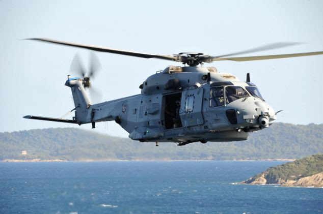 A French Navy NH90 twin-engine helicopter was scrambled to the scene just before 2pm yesterday and took the boy to Morvand Hospital in Brest, France (file picture)