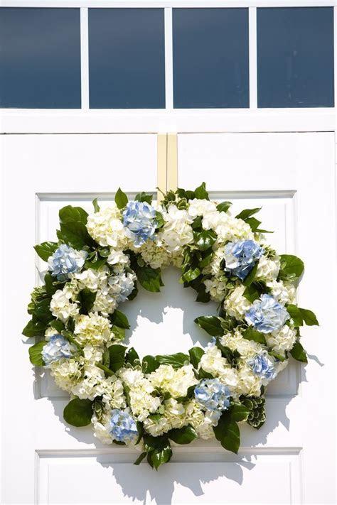 Door Wreath   Fresh Flowers   Blue and White   Church