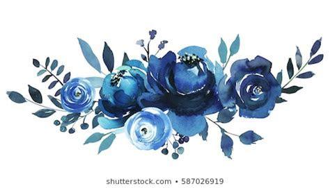 Blue Watercolor Flowers Images, Stock Photos & Vectors
