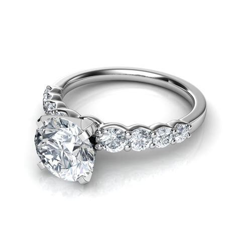 Graduated Side Stone Diamond Engagement Ring Natalie