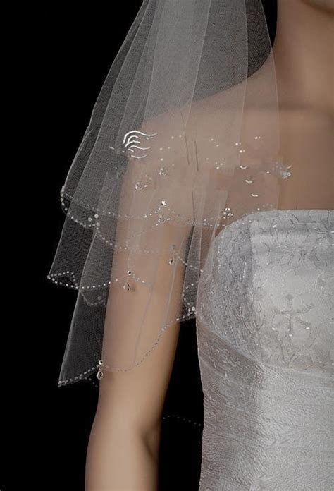 Crystal Drop Beaded Bridal Veil Hand Sew Real Picture 100%