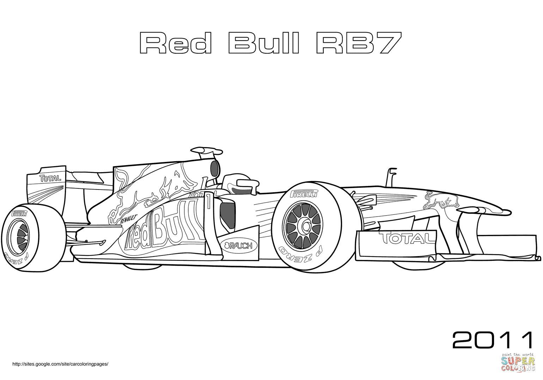 Formule 1 Red Bull Rb7 coloriages pour visualiser la version imprimable ou colorier en ligne patible avec les tablettes iPad et Android