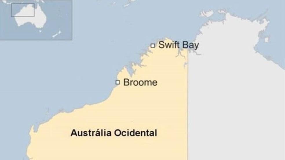 Mapa mostra região em que casal pediu socorro, na Baía de Swift (Swift Bay) Image caption Mapa mostra região em que casal pediu socorro, na Baía de Swift (Swift Bay) (Foto: BBC)