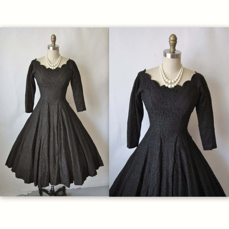 50's cocktail dress  vintage 1950's black