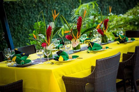 Tropical Table setting   Jamaica 50 celebration Lunch